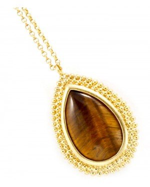 Fashion dames ketting Brown Stone