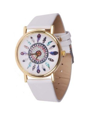 Fashion horloge Feather Dial White