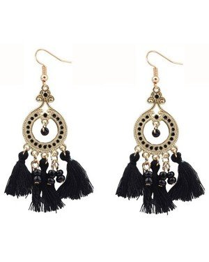 Fashion oorbellen Boho Beads Tassel Black
