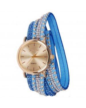 Geneva armband horloge Studs Blue Gold