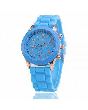 Geneva dames horloge Silicon Lightblue Gold