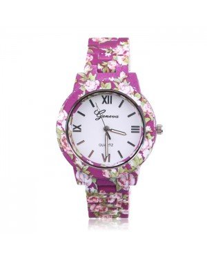 Geneva fashion horloge Flower Print Purple