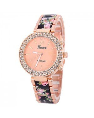 Geneva Platinum horloge Flower Diamonds Rose Black