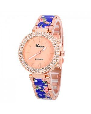 Geneva Platinum horloge Flower Diamonds Rose Blue
