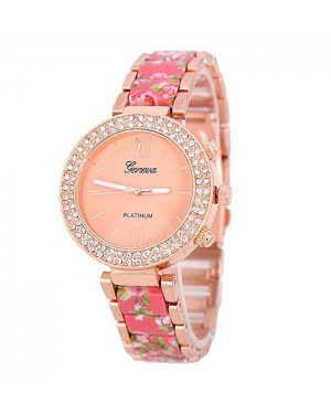 Geneva Platinum horloge Flower Diamonds Rose Pink