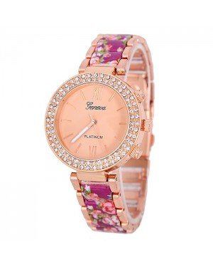 Geneva Platinum horloge Flower Diamonds Rose Purple
