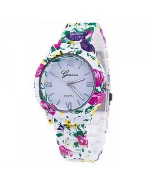 Geneva Platinum horloge Flower Print Green