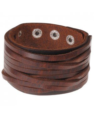 Gesneden bruine leren heren armband