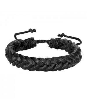 Gevlochten leren armband LGT Jewels Heren Zwart