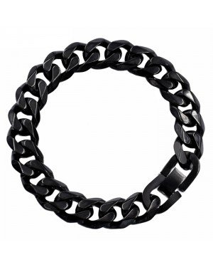 Heren armband Edelstaal Link chain Black 13mm