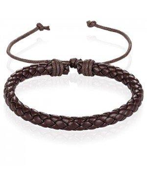 Heren Armband Gevlochten Leer Bruin Verstelbaar