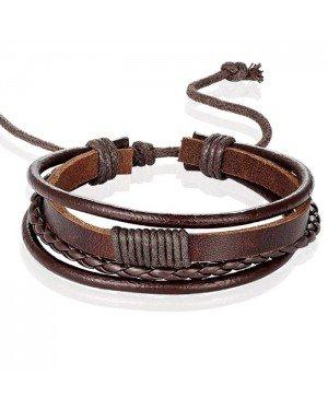 Heren armband Leer Bruin Verstelbaar Touw Multi armband