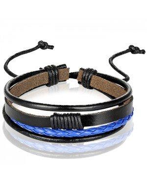 Heren armband Leer Zwart Blauw Verstelbaar Touw Multi armband