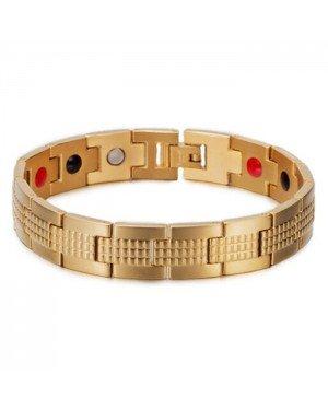 Heren armband Magnetische Energie Mendes Edelstaal Goudkleurig