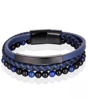 Heren armband Memphis Tijgeroog kraal gevlochten leer Zwart Blauw