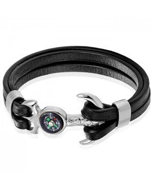 Heren armband Nautisch leer kompas Edelstaal anker Zilverkleurig Zwart