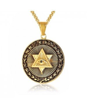 Heren ketting Mendes Edelstaal Eye Of Providence Amulet