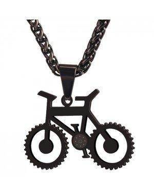 Heren ketting met hanger edelstaal Black Bicycle