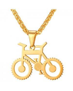 Heren ketting met hanger edelstaal Gold Bicycle