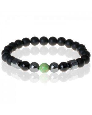 Heren kralen armband Lucky Stone Green