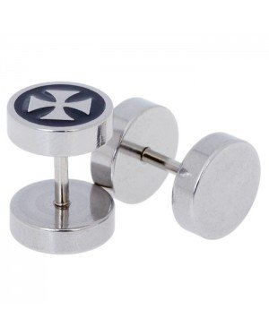 Heren oorbellen Fake Ear Plug Cross