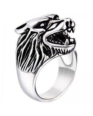 Heren ring edelstaal Wolf Zilverkleurig