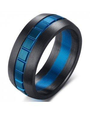 Heren ring Mendes Edelstaal Blue Grid 8mm