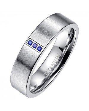 Heren ring Titanium Brushed Chrystal 6mm