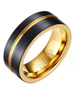 Heren ring Wolfraam Verguld Zwart Goud 8mm