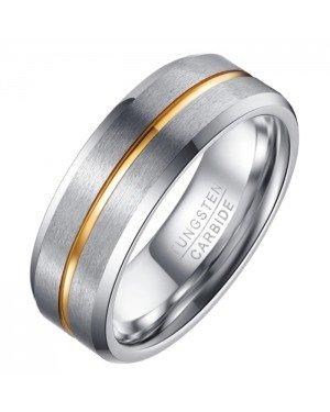 Heren ring Wolfraam Zilver Goud 8mm