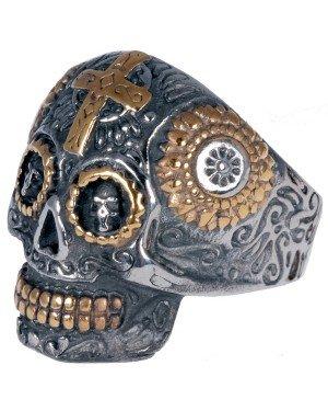 Herenring edelstaal Biker Skull Cross