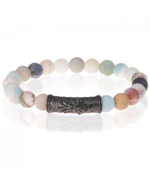 Kralen armband Frosted Amazoniet Tibetaanse kraal Zwart