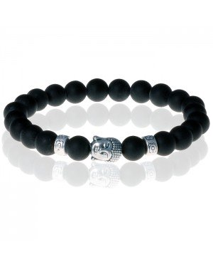 Kralen armband heren Matte Onyx Buddha Silver