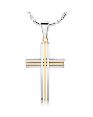 Kruis kettinghanger edelstaal goud met zilver