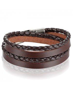 Leren Wrap armband LGT Jewels Gevlochten leer Bruin