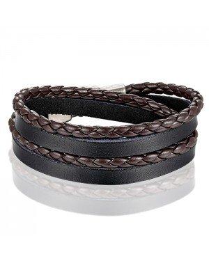Leren Wrap armband LGT Jewels Gevlochten leer Zwart Bruin