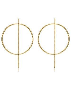 LGT Jewels Cirkelvormige Damesoorbellen met Centrale Lijn Goud