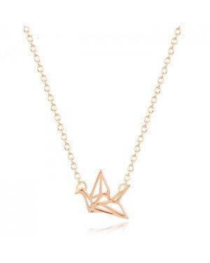 LGT Jewels Dames ketting Origami Crane hanger Rose
