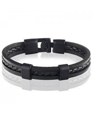 LGT Jewels heren armband Zwart Gevlochten leer Schuifgesp - 20cm