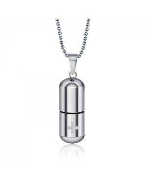 LGT Jewels kettinghanger Medicijn/Pillen Koker Zilverkleurig