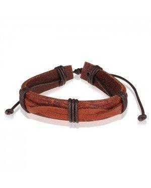 LGT Jewels leren armband Bruin Verstelbaar Touw