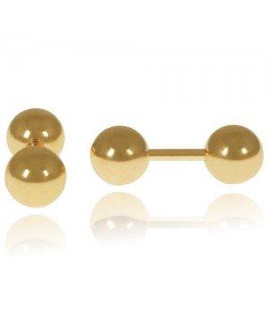 LGT Jewels Stud oorbellen Dubbele Bol Goud