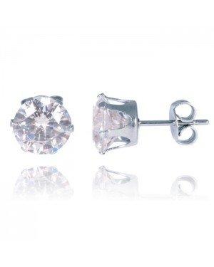 LGT Jewels Stud oorbellen Edelstaal Classic Round Transparent