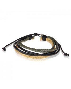 LGT Jewels verstelbare armband Zwart Leer Geel Groen Touw