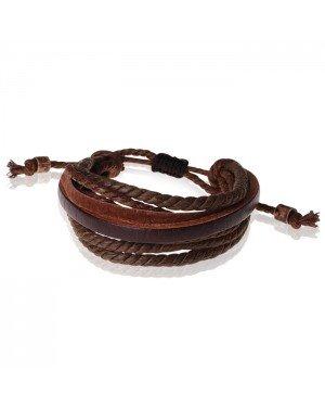 LGT Jewels verstelbare bruine leren armband met Touw
