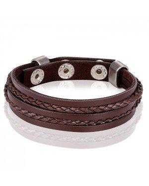 LGT Jewels verstelbare leren armband Heren Gevlochten Leer Bruin