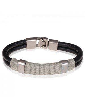LGT Jewels Zwarte leren armband Grijs Touw - 20.5cm