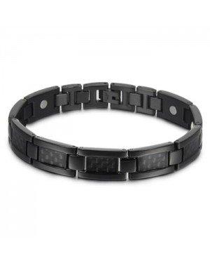Magnetische heren armband Edelstaal Koolstofvezel Zwart