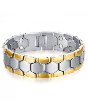 Magnetische heren armband Mendes Edelstaal Zilverkleurig Goudkleurig