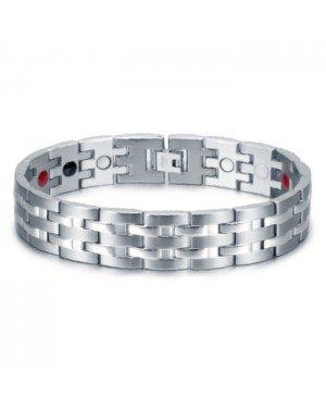 Magnetische mannen armband Mendes Edelstaal Energie Zilverkleurig